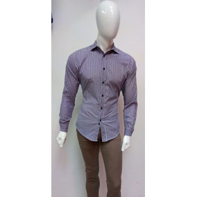 Camisa Para Hombre Marca Firho Cuadros Morados Y Blancos