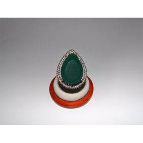 159d6b5 Anillo Turco Color Oro Con Esmeralda Y Cristales