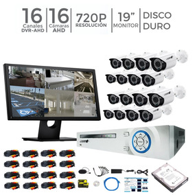 Kit Seguridad Dvr 16 Canales 16 Camaras Monitor Disco Duro