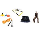 Kit Funcional 4 Itens Corda Naval, Escada, Cone E Pula Corda