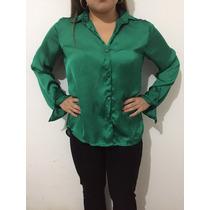Camisa Feminina Tipo Seda Verde Modeagem Reta