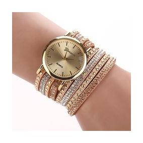 Relógio Feminino Bracelete E Pulseira C/ Strass Marca Geneva