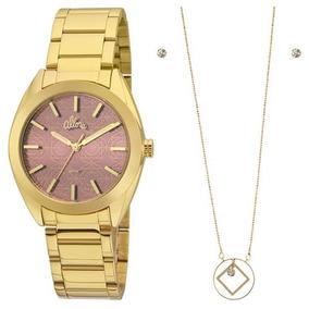 Relógio Allora Feminino Dourado Al2035fhn/k4n Colar + Brinco