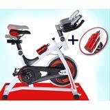 Bicicleta Spinning Fija Profesional Disco 13kg + Alfombra