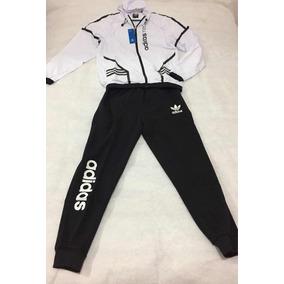Pants Completó adidas Para Caballero,color Blanco Con Negro