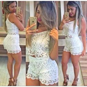 Conjunto Shorts E Cropped Renda Alcinha