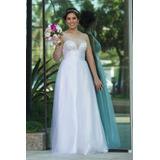 Vestido De Noiva Unicke Branco + Véu + Grinalda + Sapatos