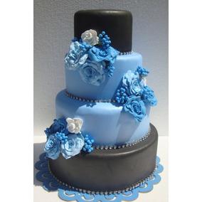 Bolo Maquete Azul E Preto - Casamento, Debutantes E Festas