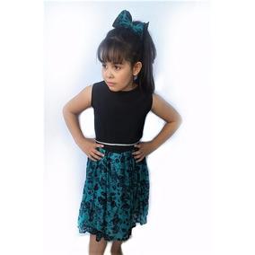 Vestido Festa Infantil Com Pedraria Tamanho 4 A 12