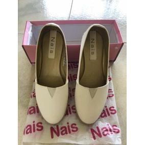 Zapatos Nais Casual Pana Dama Blancos Usados.