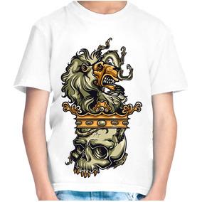 Camiseta Infantil Menino Caveira Leão