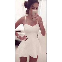 Vestido De Alcinha Branco Rodado Casual Balada Reveillom