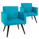Kit 02 Poltronas Decorativa Sala Escritio Nina Azul