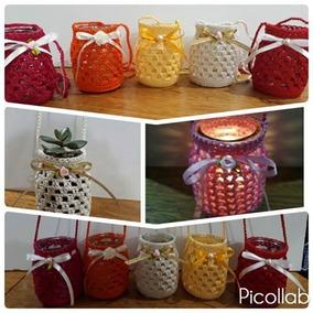 Frasco Decorado Con Funda Tejida A Crochet