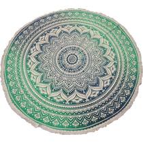 Canga Indiana Redonda Mandala Verde - Importado Da Índia