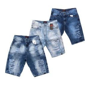 Kt 3 Bermudas Jeans Rasgada Desfiada Lançamento 2018