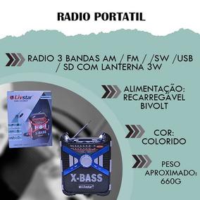 Cartão Sd Rádio Portátil Aparelho Áudio Som Luz Usb Bivolt
