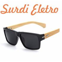 Óculos De Sol Unissex De Madeira Hastes Bamboo Espelhado