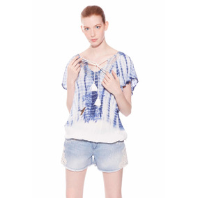 &blusa Verano Blanca Azul Desigual Nueva Envío Gratis