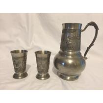 Hermosa Jarra Antigua Alemana Acero Inox. Y 2 Vasos Vintage
