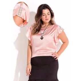 Bata Blusa Camiseta Renda Plus Size Moda Verão 2018