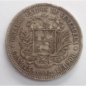 Espectacular Fuerte De Venezuela 5 Bolivares Del Año 1902