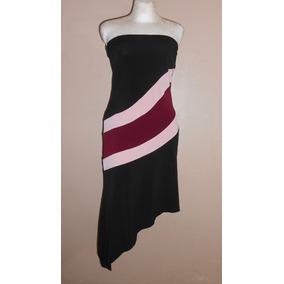 Hourglass! Moderno Vestido Strapless Negro Con Rosa, Talla L