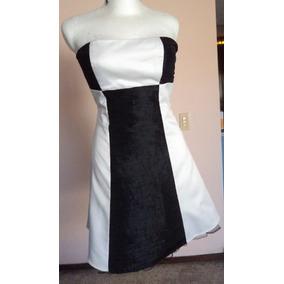 Vestido Blanco Y Negro Strapless Liz Minelli Talla S Vt210