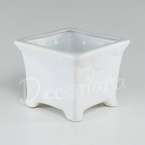 Cachepot Em Cerâmica Esmaltado Branco Vaso Quadrado Com Pé