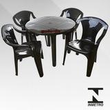5 Jogos De Mesas C/20 Sup182kg Cadeiras Preta De Plás Emp
