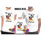 Promoção Camisa Camiseta Personalizada Minnie E Mickey Festa
