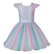 Vestido De Festa Infantil Princesa Tie Dye Colorido Katitus