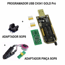 Gravador Usb Flash Eprom Bios +adaptador Clipe + Adapt. Sop8
