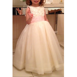 Vestido De Dama De Honra Organza De Seda Off White P/ 3 Anos