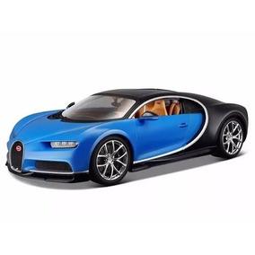 Miniatura De Bugatti Chiron Azul E Preto 1:18 Burago