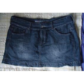 Mini Falda Mezclilla Semi Elasticada Importada Azul Petroleo