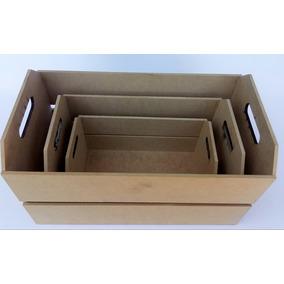 3 Caixas Caixotes De Feira Em Mdf Cru Organizador Decoração