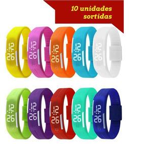 Kit 10 Relógio Pulseira Silicone Led Criança Bracelete Watch