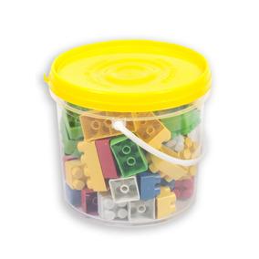 Balde Com 64 Peças Blocos De Montar Encaixe Plástico