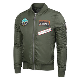 Campera Ribon Bomber Hombre Impermeable Y Parches, Valkymia