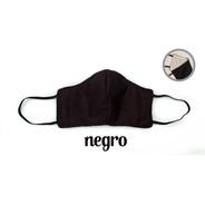 1 Cubrebocas De Tela Negro, Lavables, Fibra De Algodón