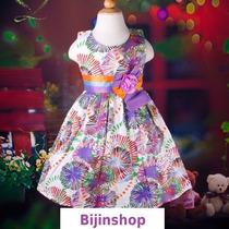 Vestido Infantil Festa/princesa/dama Estampado Tam 4 E 6