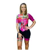 Macaquinho Ciclismo Feminino Grafite Rosa Mc