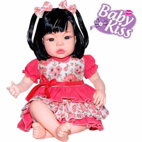 Boneca Baby Kiss Estilo Reborn Real Menina C/ Som Fala Bebe
