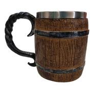 Caneca Barril Medieval Em Resina Inox 400ml - Chopp,cerveja