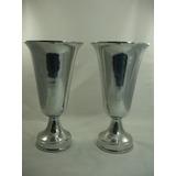Par De Grande Vasos Ânforas Em Puro Alumínio Bela Decoração