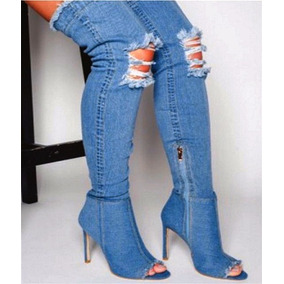 Bota Jeans Kardashian Estonado Salto Fino - Sob Medida