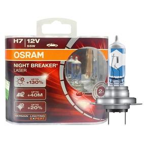 Par Lampada Osram H7 Night Breaker Laser 130%+ Luz 3600k 12v