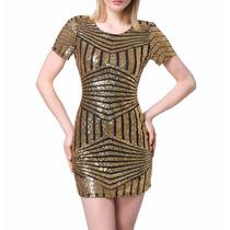 Vestido Dourado Lantejolas Forrado Casual Balada Festa Sexy