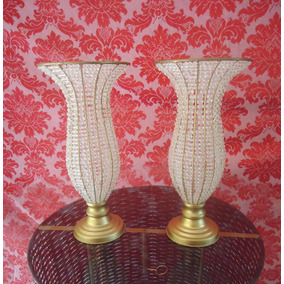 Kit 2 Vasos Decorados De Pedrarias Cristal Acrilico 45 Cm